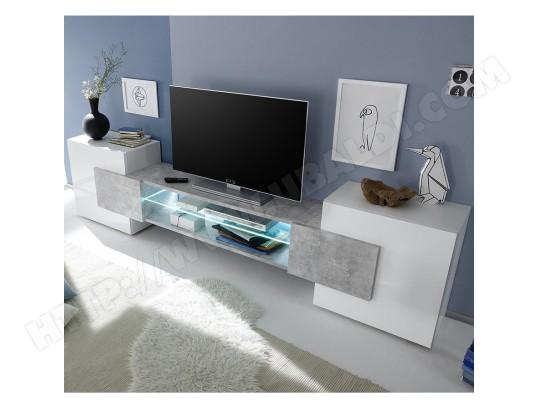kasalinea meuble tv design blanc laque brillant et effet beton eros avec eclairage ma 91ca487meub x0wmr