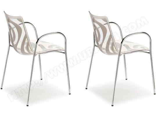scab design chaise lot de 2 fauteuils wave tansparente et blanc