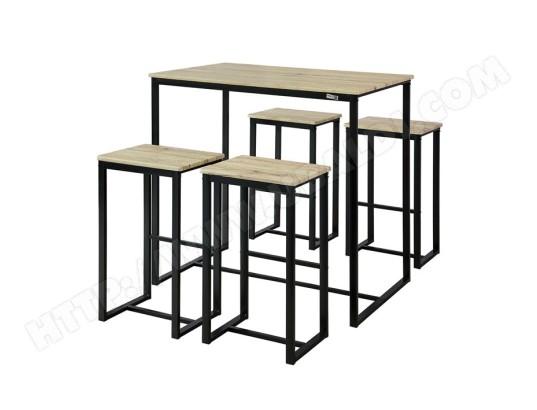 sobuy ogt15 n set de 1 table 4 tabourets ensemble table de bar bistrot 4 tabourets de bar avec repose pieds table haute cuisine mange debout