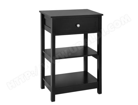 sobuy fbt46 sch table de chevet bout de canape table d appoint avec 1 tiroir et 2 etageres de rangement noir fbt46 sch