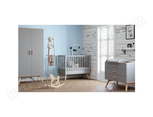 meubles vox chambre complete lit bebe 60x120 commode a langer armoire 2 portes nautis gris 2741