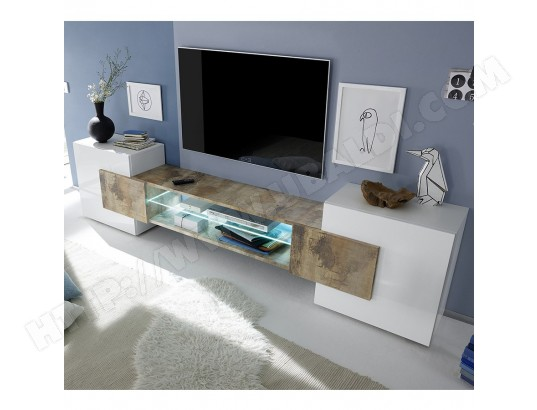 sofamobili meuble tv moderne blanc laque brillant et couleur bois argos 2 m tv m 149 0
