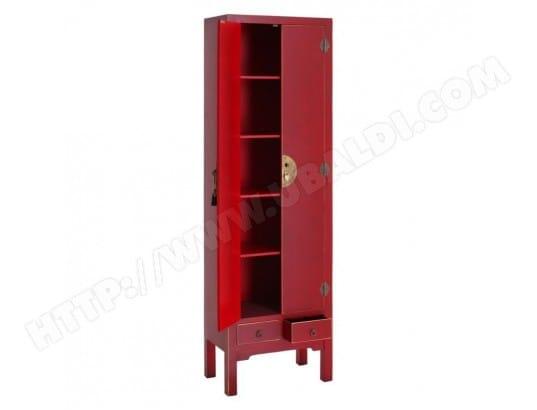 tousmesmeubles armoire lingere 2 portes 2 tiroirs rouge meuble chinois pekin l 55 x l 33 x h 185 11971 11787