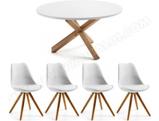 lf ensemble table et chaises table nori 135 cm 4 chaises lars blanche et bois