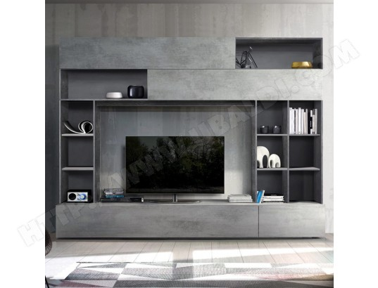 nouvomeuble meuble tv mural design gris effet beton perdita enstv120070