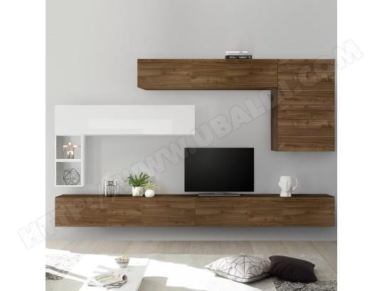 nouvomeuble ensemble meuble tv mural bois et blanc piana ma 82ca487ense 9xooh