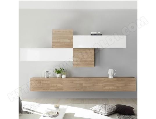 nouvomeuble ensemble meuble tv blanc laque et couleur chene papiano ma 82ca487ense nputv