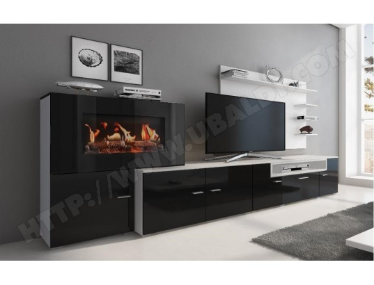 innovation meuble salon cheminee electrique 5 niv de flamme blanc mate noir laque 290x170x45 ma 77ca487meub j095u