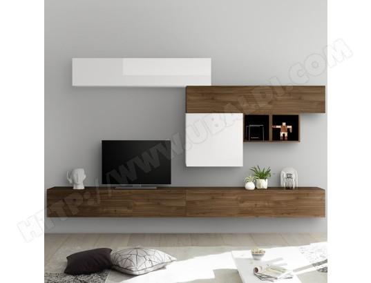nouvomeuble meuble tv suspendu blanc laque et couleur noyer galatina ma 82ca487meub opbum