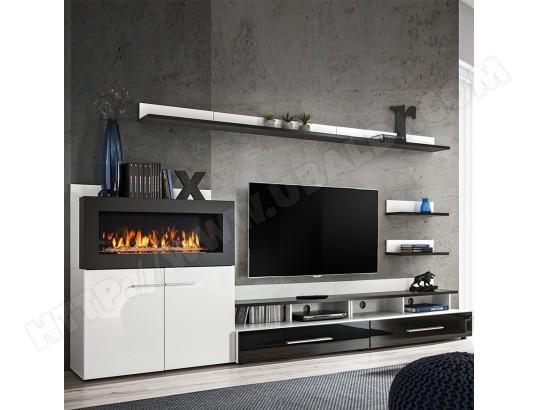 nouvomeuble meuble tv avec rangement et cheminee noir laque martano ma 82ca487meub c7sz8