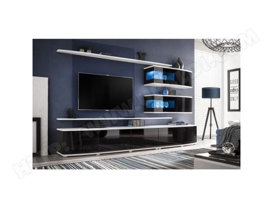 price factory meuble de salon complet meuble tv fast composition murale coloris blanc et noir brillant led incluses ma 76ca494meub hiekp