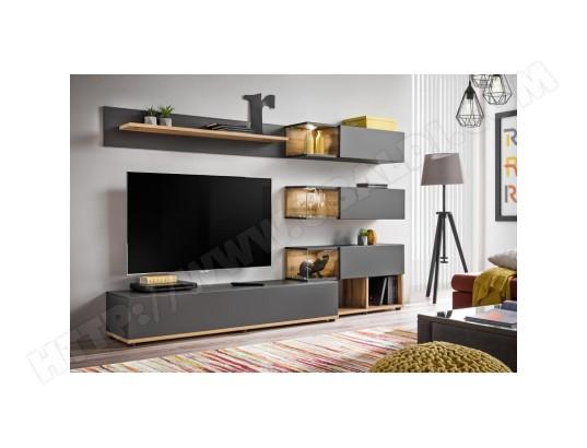price factory meuble de salon complet meuble tv klis composition murale coloris gris anthracite et chene led incluses ma 76ca494meub 0ddlv