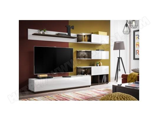 price factory meuble de salon complet meuble tv klas composition murale coloris blanc brillant et wenge led incluses ma 76ca494meub 5iow5
