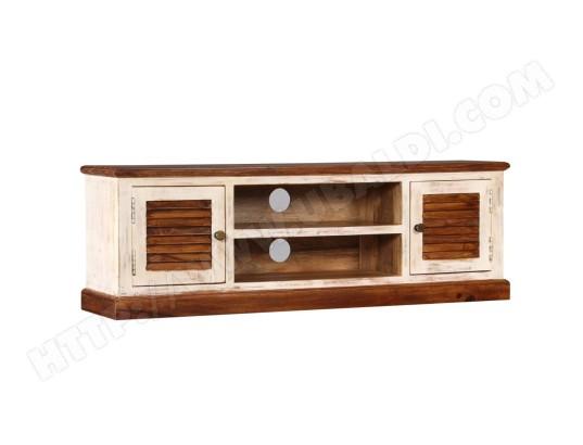 icaverne icaverne meubles tv chic meuble tv bois massif de manguier et sesham 120 x 30 x 40 cm icav245153