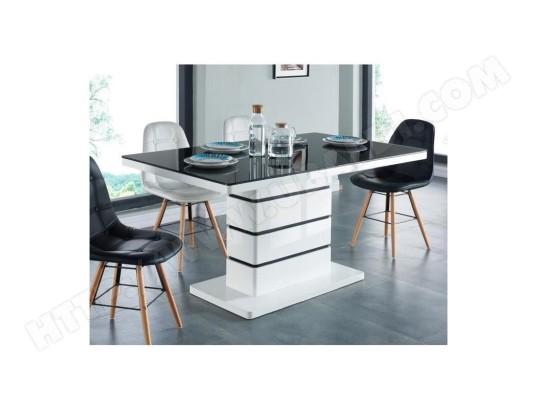 tbd lucia table a manger 6 personnes contemporain laque blanc plateau en verre trempe noir l 150 x l 90 cm ma 31ca492luci iqiqx