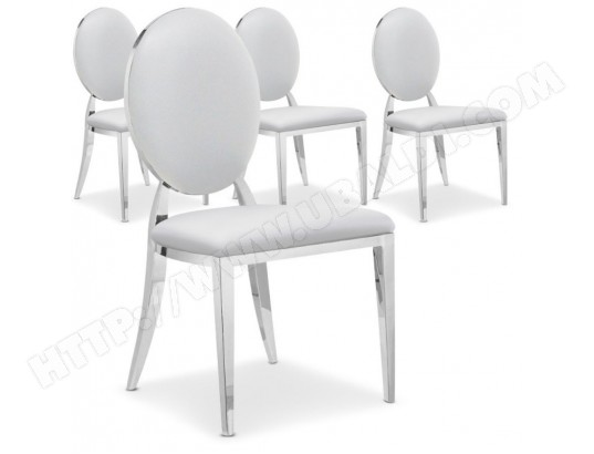 menzzo lot de 4 chaises medaillon sofia blanc ft83lot4blanc