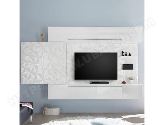 nouvomeuble ensemble tv mural blanc laque design paolo ma 82ca487ense o67fn