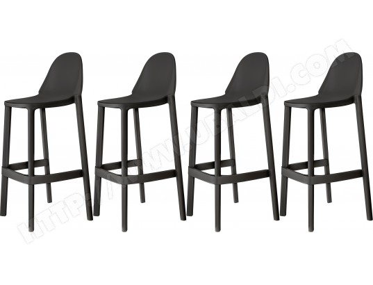 scab design tabouret de bar lot de 4 tabourets piu anthracite hauteur 75cm