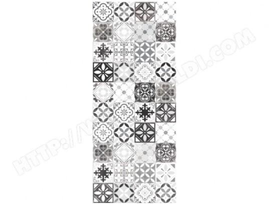 vente unique tapis de couloir en vinyle effet carreaux de ciment mosai 66x160 cm noir et blanc ma 82ca183tapi subcj