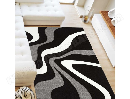 nazar tapis moderne et graphique diamond 760 gris blanc noir 120 x 170 cm 37188