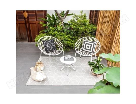 icaverne salon de jardin ensemble table chaise fauteuil de jardin opoa salon de jardin 2 places 2 fauteuils et une table basse en metal blanc