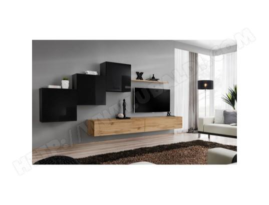 price factory ensemble meuble salon mural switch x design coloris chene wotan et noir brillant ma 76ca494ense 2e6hr