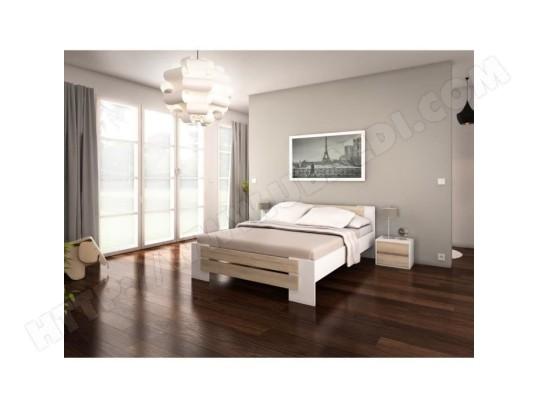 icaverne structure de lit mao lit adulte contemporain melamine blanc et decor chene clair l 140 x l 190 cm ma 15ca186stru rtlwz