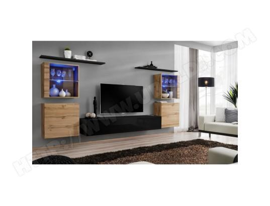 price factory ensemble meuble salon mural switch xiv design coloris noir brillant et chene wotan ma 76ca494ense 0oak5