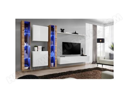 price factory ensemble meuble salon mural switch xvi design coloris blanc brillant et chene wotan ma 76ca494ense s9l5i