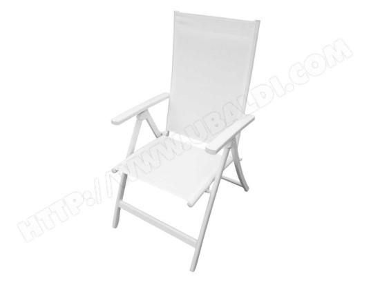 tousmesmeubles fauteuil multi positions textilene aluminium blanc sayuri l 55 x l 70 x h 109 ma 46ca281faut e6jl3
