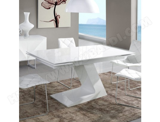 nouvomeuble table extensible design blanc laque manama ma 82ca492tabl buouz