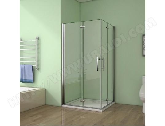 aica sanitaire aica cabine de douche 70x80x185cm verre anticalcaire porte pliante et pivotante ma 12ca546aica 8p14q