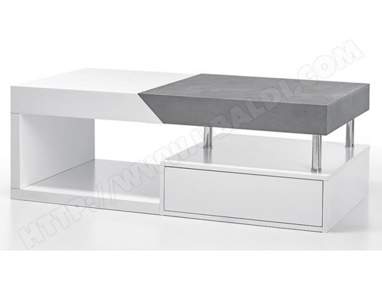 pegane table basse modulable en chene laque blanc mat et beton l 120 x h 43 x p 60 cm pegane ma 82ca182tabl aioec