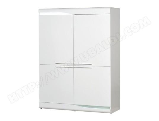 tousmesmeubles vaisselier 4 portes blanc laque brillant a leds pesmes l 120 x l 46 x h 160 ma 46ca182vais fhkto