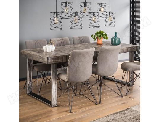 nouvomeuble table a manger en bois massif gris et metal noir dayton ma 82ca492tabl h5ebd