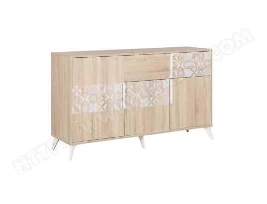 tousmesmeubles buffet 3 portes 1 tiroir bois clair blanc ethan l 142 x l 40 x h 83 ma 46ca182buff 3lfb5