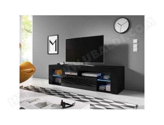 price factory meuble tv design montblanc 160 cm 1 porte et 2 niches coloris noir brillant led ma 76ca487meub 6jwsy