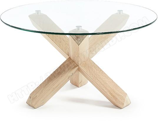 lf table basse nori 65cm bois plateau verre
