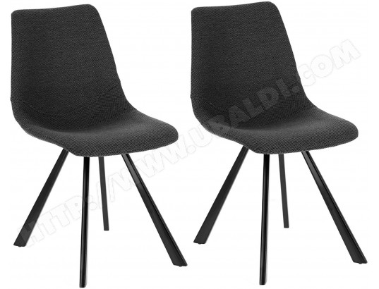 lf chaise andi lot 2 chaises tissu noir