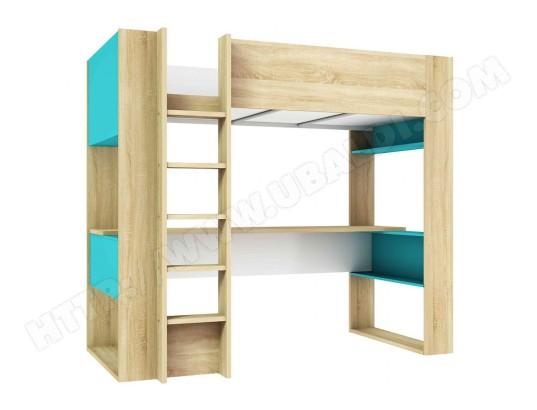 terre de nuit lit mezzanine enfant 90x200 en bois imitation chene et bleu lt9025 ma 69ca187litm l1ngp