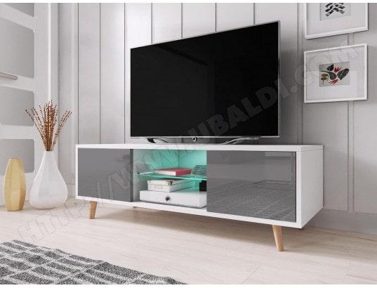 vivaldi sweden meuble tv style scandinave blanc mat avec gris brillant eclairage a la led bleue ma 54ca43 swed jvjqt