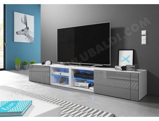 vivaldi hit 2 double meuble tv design blanc mat avec gris brillant eclairage a la led bleue ma 54ca43 hit2 qepdz