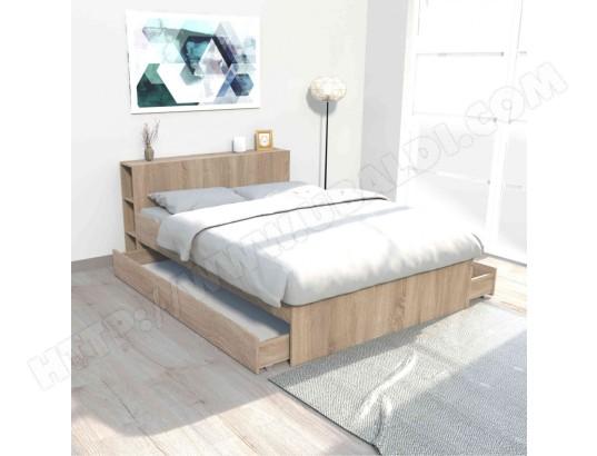 terre de nuit lit 2 tiroirs avec tete de lit etageres en bois imitation chene clair 140x190 lt14018 ma 69ca230lit2 jtn3v