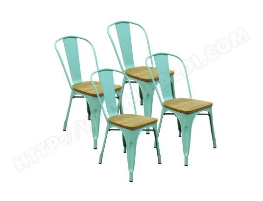 red deco lot de 4 chaises gaston en metal vert style industriel avec assise en bois massif clair ma 16ca493lotd 5inve