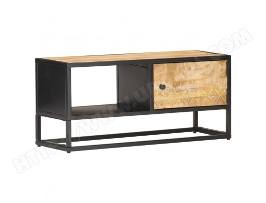 vidaxl vidaxl meuble tv avec porte sculptee 90x30x40 cm bois de manguier brut ma 13ca487vida h01vd