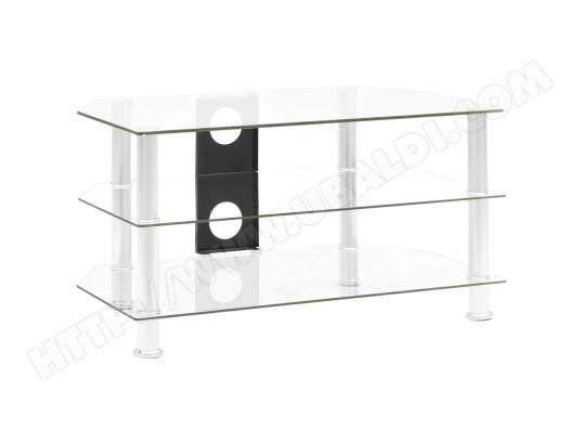 vidaxl vidaxl meuble tv transparent 75x40x40 cm verre trempe ma 13ca487vida 654zq