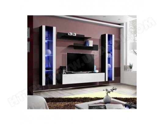 price factory meuble tv fly a2 design coloris noir et blanc brillant led meuble suspendu moderne et tendance pour votre salon