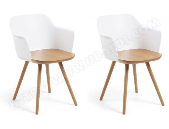 lf chaise lot de 2 chaises klam blanches