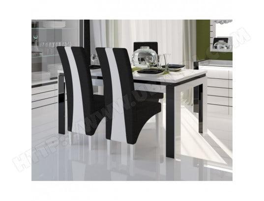 price factory table 160 cm 6 chaises lina table pour salle a manger brillante blanche et noire avec 6 chaises simili cuir meubles design