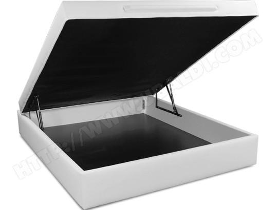 ub design sommier 160 x 200 lit coffre leo 160x200 blanc